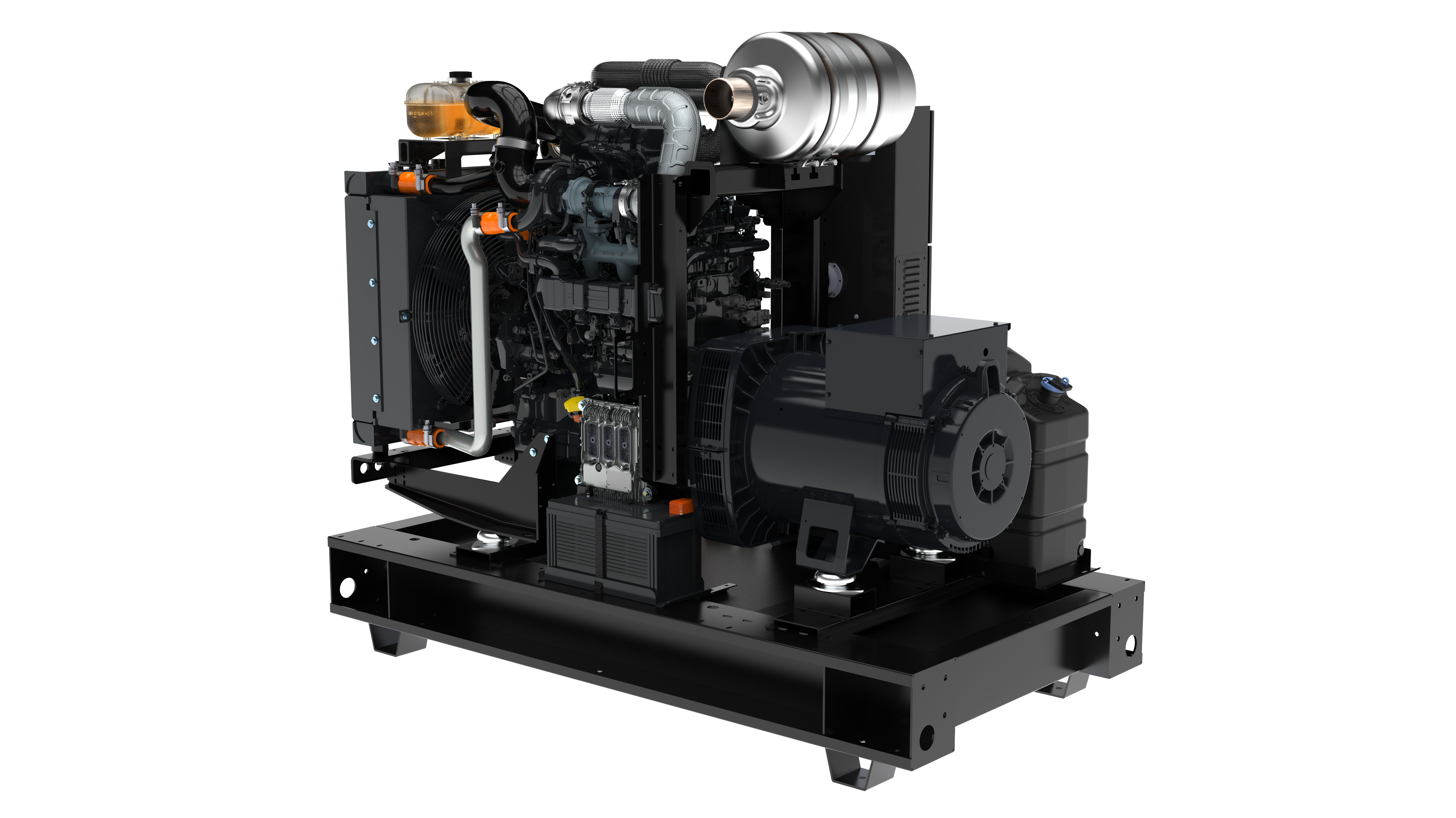 This open skid generator meets EPA Tier 4 emissions standards.